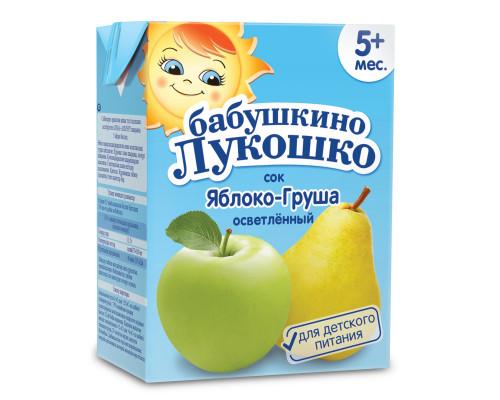Сок ТМ Бабушкино Лукошко Яблоко груша осветленное, с 5 мес., 200 г