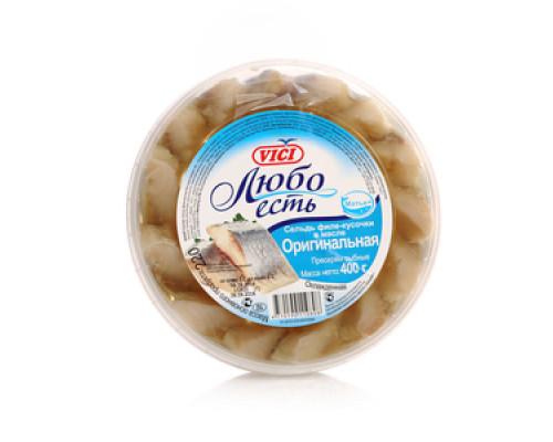 Сельдь филе-кусочки в масле оригинальная Любо есть ТМ Vici (Вичи)