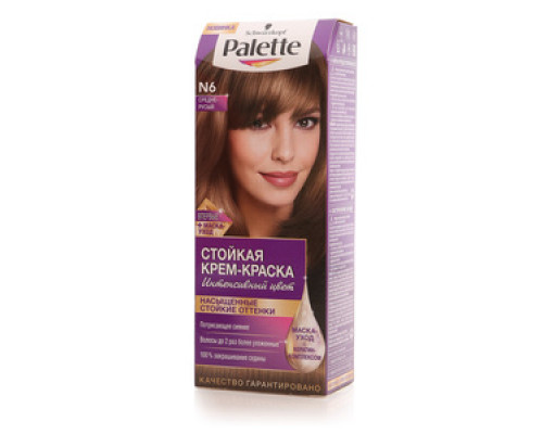 Стойкая крем-краска для волос N6 средне-русый ТМ Palette (Палет)