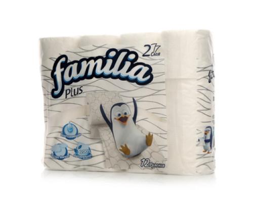 Туалетная бумага двухслойная ТМ Familia (Фамилиа), 12 рулонов