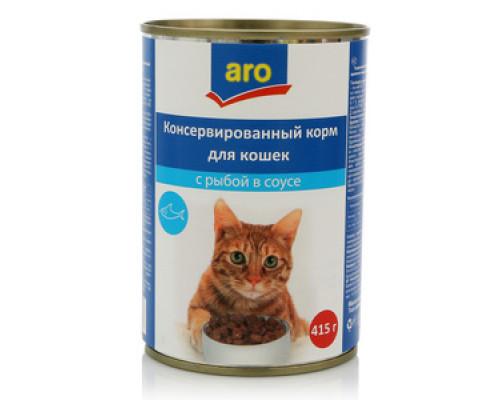 Корм полнорационный для кошек с рыбой в соусе ТМ Aro (аро)