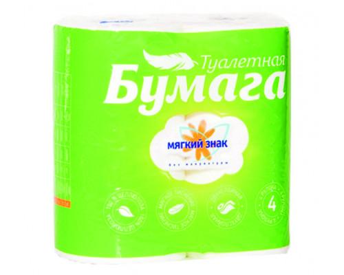Туалетная бумага ТМ Мягкий знак, двухслойная, белая, 4 рулона