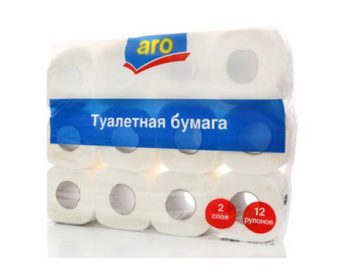 Туалетная бумага двухслойная ТМ Aro (Аро), 12 рулонов