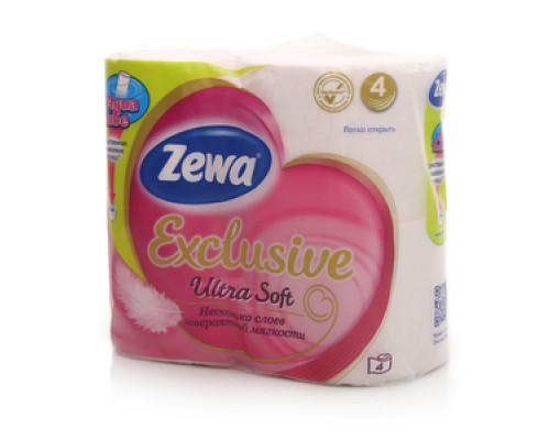 Туалетная бумага четырёхслойная ТМ Zewa (Зева), 4 рулона