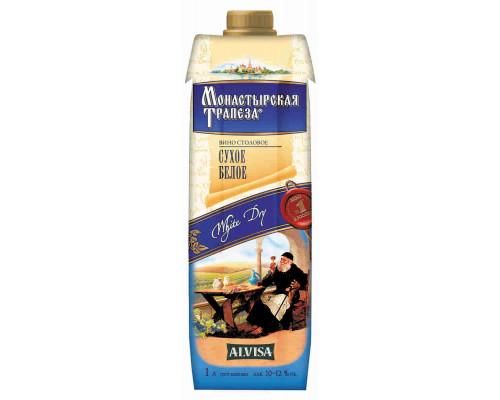 Вино Монастырская Трапеза белое сух 1л т/п