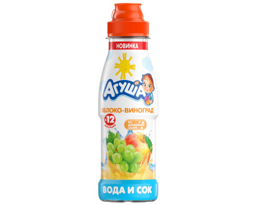 Вода ТМ Агуша, с соком яблоко-виноград, с 12 месяцев, 300 мл
