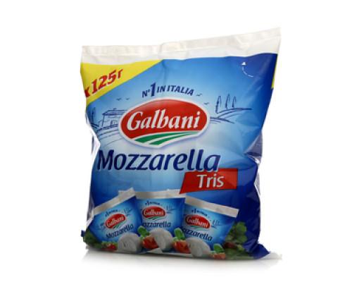 Сыр Mozzarella Tris (Моцарелла Трис) 45% 3*125г ТМ Gallbani (Гальбани)