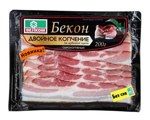 Бекон ТМ Велком, двойного копчения, сырокопченый, 200 г