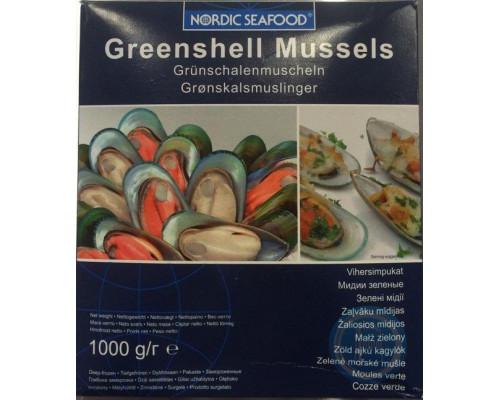 Зеленые мидии ТМ Nordic Seafood (Нордик Сифуд), 1/2 раковин, свежемороженые, 1 кг