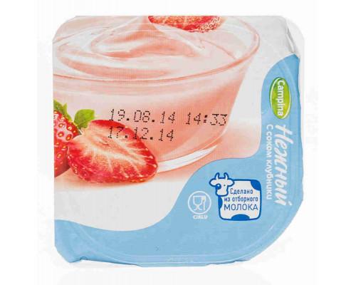 Продукт йогуртный пастеризованный Нежный 1,2% с соком клубники 100г
