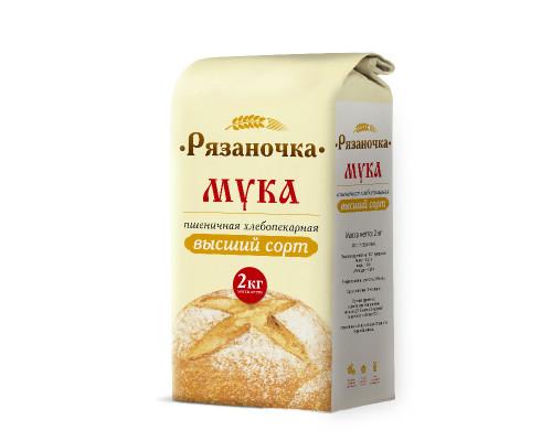 Мука пшеничная в/с Рязаночка, 2 кг.