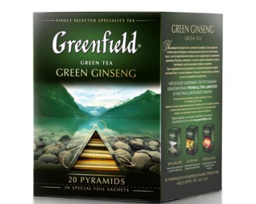 Чай зеленый ТМ Greenfield (Гринфилд) Ginseng женьшеневый, в пирамидках, 20 шт.