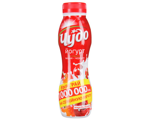 Йогурт питьевой ЧУДО вишня-черешня 2,4% 270 г