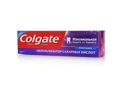 Зубная паста Colgate Максимальная защита от кариеса + Нейтрализатор сахарных кислот Мятная свежесть TM Colgate (Колгейт)