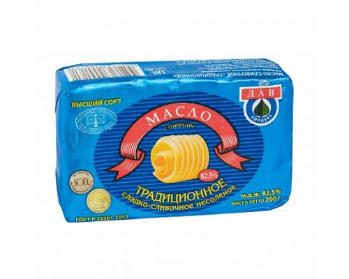 Масло сливочное ТМ Лав Продукт, Традиционное сладко-сливочное несоленое, 82,5 %, 200 г