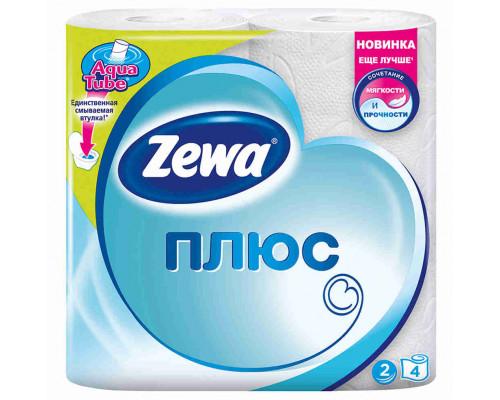 Туалетная бумага Zewa Plus белая 2сл 4шт