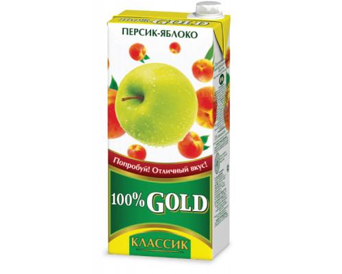 Напиток сокосодержащий ТМ 100% Gold Классик Персик-Яблоко, 0,95 л