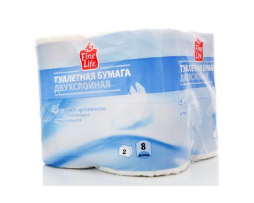 Туалетная бумага двухслойная ТМ Fine life (Файн Лайф), 8 рулонов