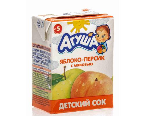 Сок Агуша яблоко/персик с 5мес 200мл т/п