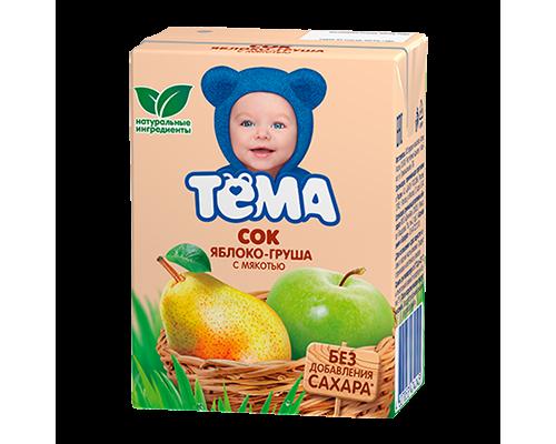 Сок ТМ Тема яблоко-груша с мякотью, 200 г