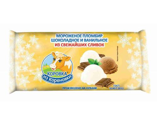 Мороженое пломбир КизК Полено двуслойное шоколадное/ванильное 400г