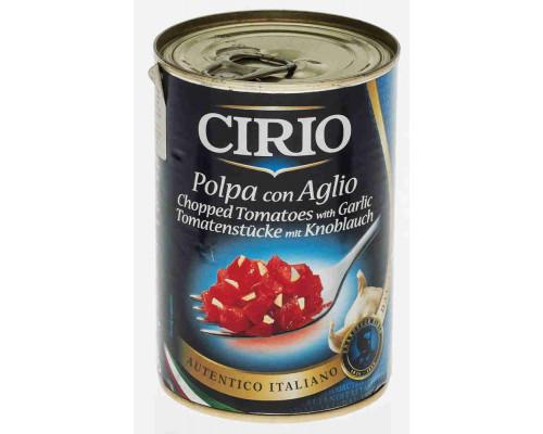 Томаты Cirio очищенные резаные в томатном соке с чесноком 400г ж/б