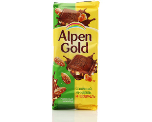 Шоколад ТМ Alpen Gold, молочный Соленый миндаль и карамель 90 г