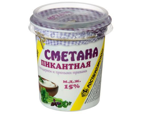 Сметана ТМ РостАгроЭкспорт Пикантная с сельдереем и пряными травами, 15%, 180 г