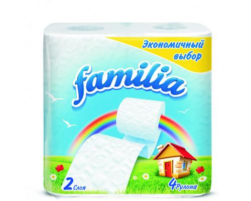 Бумага туалетная ТМ Familia (Фамилия) Радуга, двухслойная, 4 рулона
