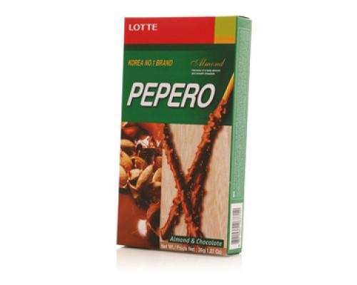 Соломка в шоколадной глазури с миндалем ТМ Lotte (Лотте)