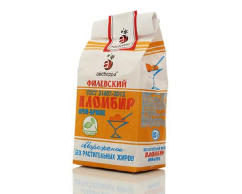 Мороженое пломбир крем-брюле Филевский ТМ Айсберри 15%