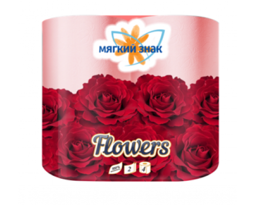 Туалетная бумага двухслойная ароматизированная Цветы ТМ Мягкий Знак, 4 рулона