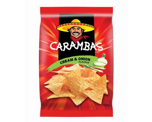 Чипсы кукурузные Carambas сметана/лук 150г