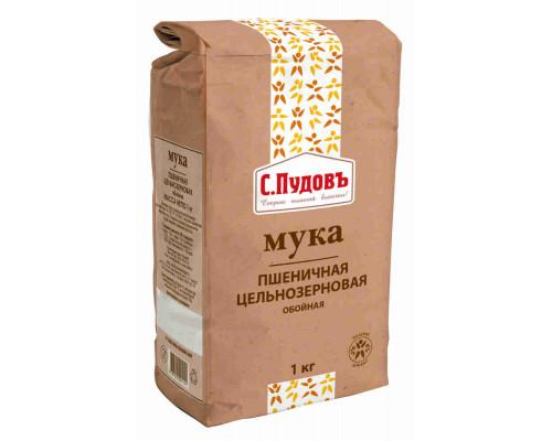 Мука Пудовъ пшеничная цельнозерновая обойная, 1кг