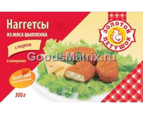 Наггетсы из мяса цыпленка с сыром в панировке Золотой петушок, 300 Г