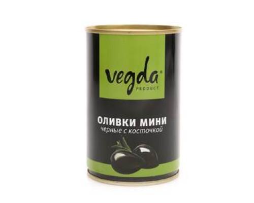 Оливки черные с косточкой мини ТМ Vegda (Вегда)