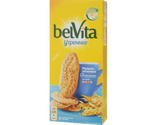 Печенье Утреннее Belvita витаминизированное со злаковыми хлопьями, 225 г