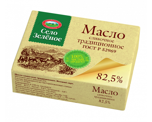 Масло сливочное ТМ Село Зеленое, 82,5%, 175 г