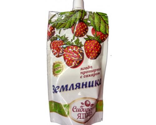 сибирская ягода, земляника протёртая с сахаром, 280г