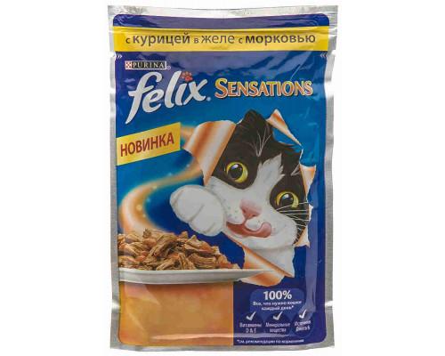 Корм д/кошек Felix Sensations курица в желе с морковью 85г