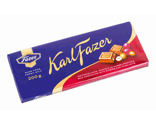 Шоколад молочный Fazer с фундуком и изюмом 200г