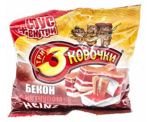 Сухарики ржаные Три корочки бекон+кетчуп 60г/25г
