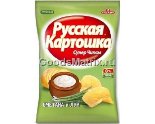 Чипсы картофельные Русская картошка со вкусом сметаны и лука, 58 г