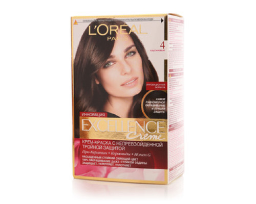Крем-краска для волос 'Excellence Creme' 4 каштановый ТМ L'Oreal Paris (Л'ореаль Париж)