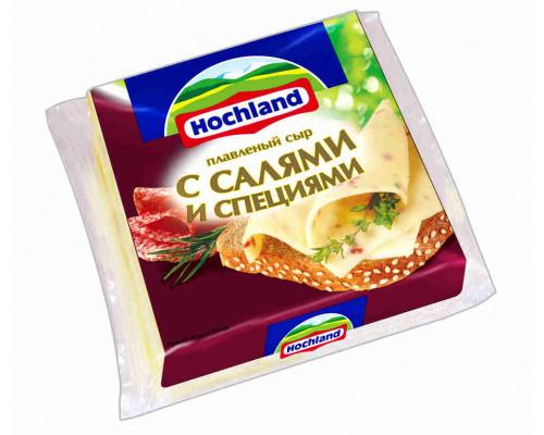 Сыр плавленый Hochland с салями 45% 150г ломтик