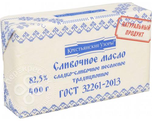 Масло сливочное ТМ Крестьянские узоры Традиционное, 82,5%, 400 г