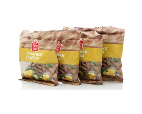 Сухарики ржано-пшеничные с сыром ТМ Fine Life (Файн Лайф) 4*40г