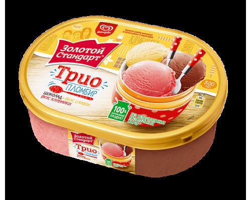 Мороженое Золотой Стандарт трио клубника, шоколад, ваниль, Инмарко 475 г