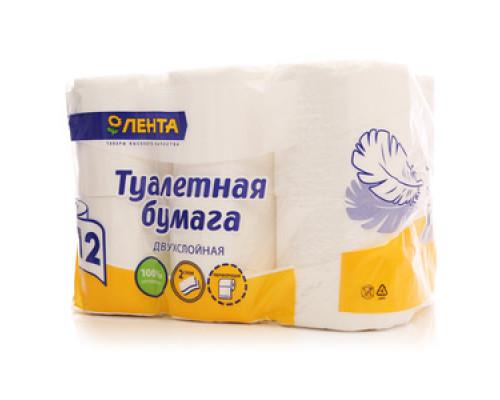 Туалетная бумага 2-слойная ТМ Лента, 12 шт