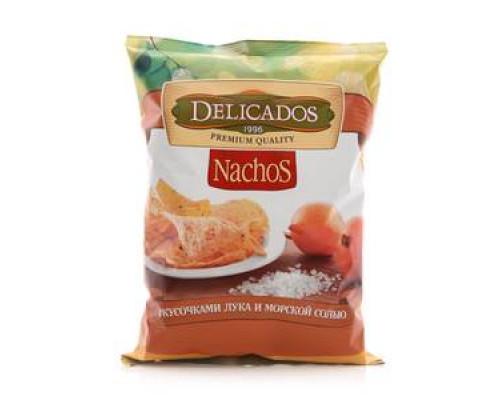 Чипсы кукурузные Nachos (Начос) с кусочками жареного лука и морской солью ТМ Delicados (Деликадос)